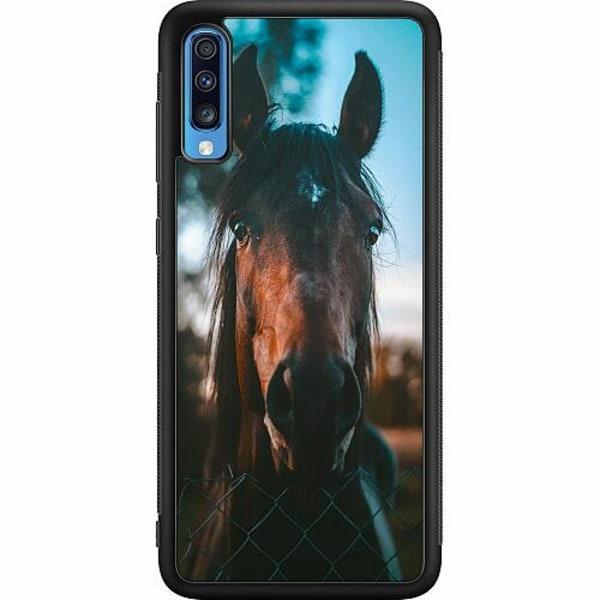 Samsung Galaxy A70 Soft Case (Svart) Häst / Horse