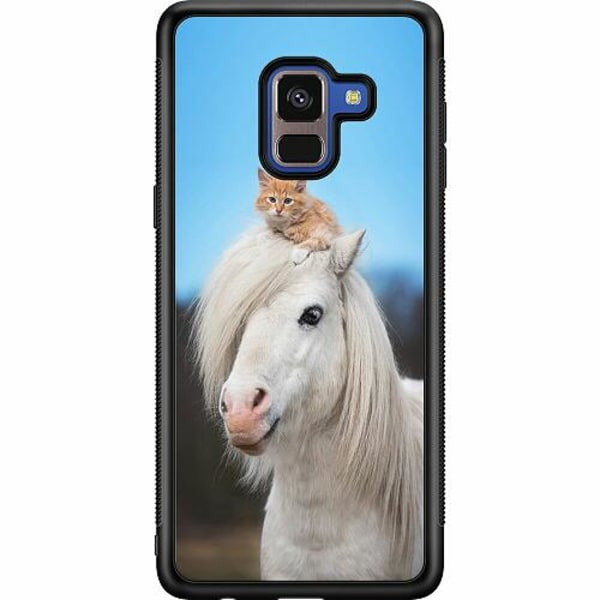 Samsung Galaxy A8 (2018) Soft Case (Svart) Horse with CatHat