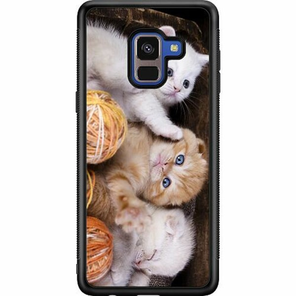 Samsung Galaxy A8 (2018) Soft Case (Svart) Kittens and Yarn