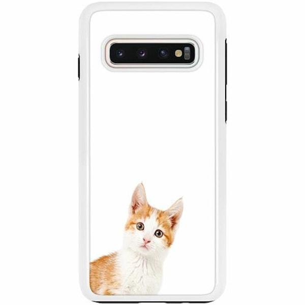 Samsung Galaxy S10 Duo Case Vit PopUp Cat
