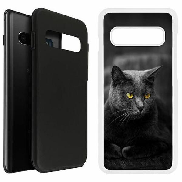 Samsung Galaxy S10 Plus Duo Case Vit Black Cat