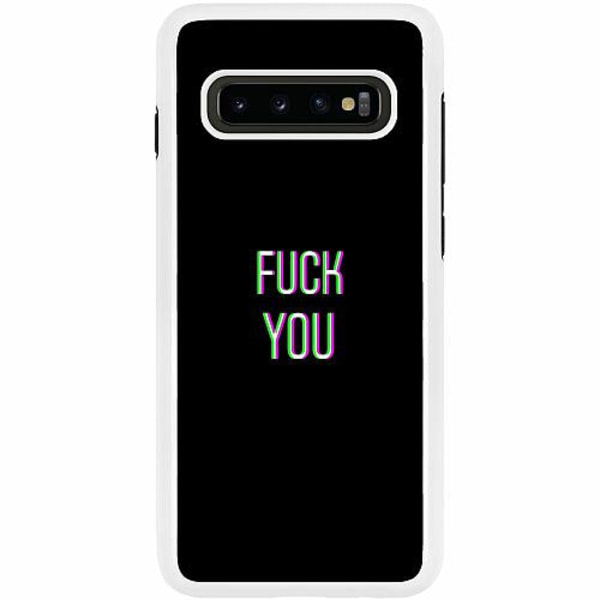 Samsung Galaxy S10 Plus Duo Case Vit FUCK YOU *