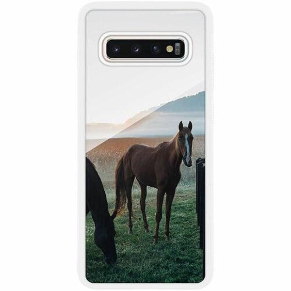 Samsung Galaxy S10 Plus Vitt Mobilskal med Glas Häst / Horse