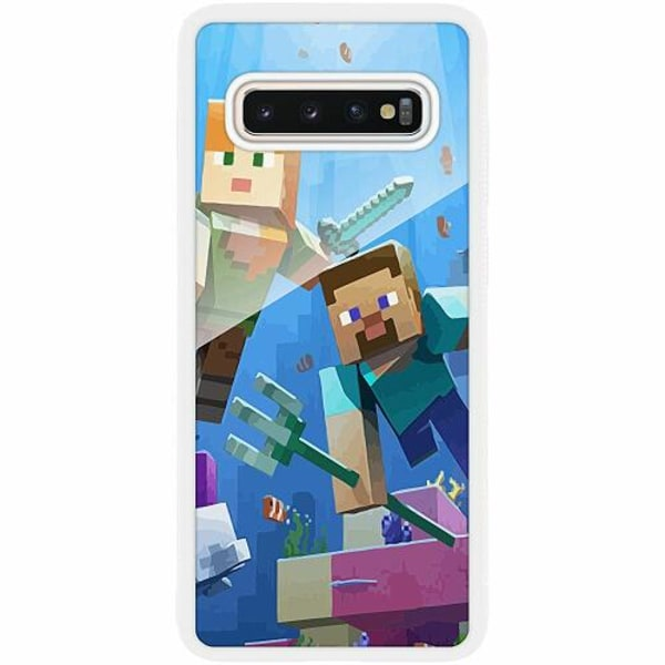 Samsung Galaxy S10 Plus Vitt Mobilskal med Glas MineCraft