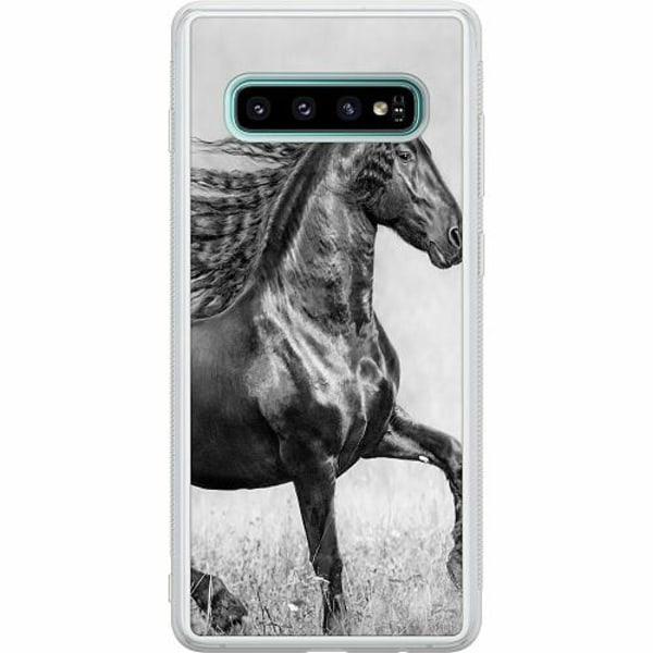 Samsung Galaxy S10 Soft Case (Frostad) Häst / Horse