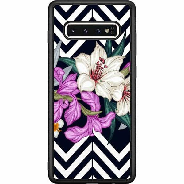 Samsung Galaxy S10 Soft Case (Svart) Blommor