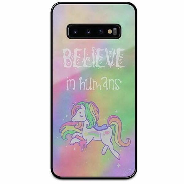 Samsung Galaxy S10 Svart Mobilskal med Glas Unicorn