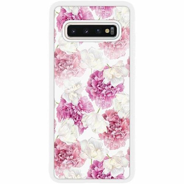 Samsung Galaxy S10 Plus Vitt Mobilskal med Glas Blommor