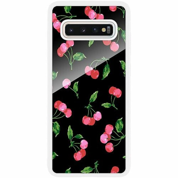 Samsung Galaxy S10 Plus Vitt Mobilskal med Glas Cherry