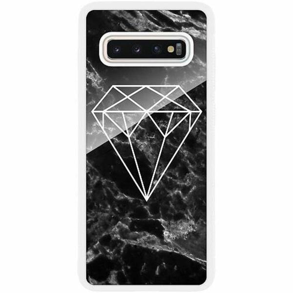 Samsung Galaxy S10 Plus Vitt Mobilskal med Glas Diamant