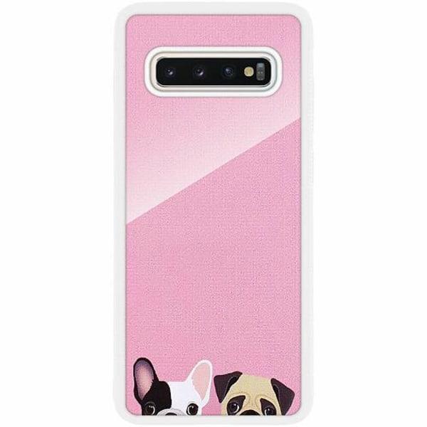 Samsung Galaxy S10 Plus Vitt Mobilskal med Glas Hundar