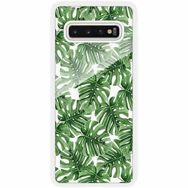 Samsung Galaxy S10 Plus Vitt Mobilskal med Glas Löv