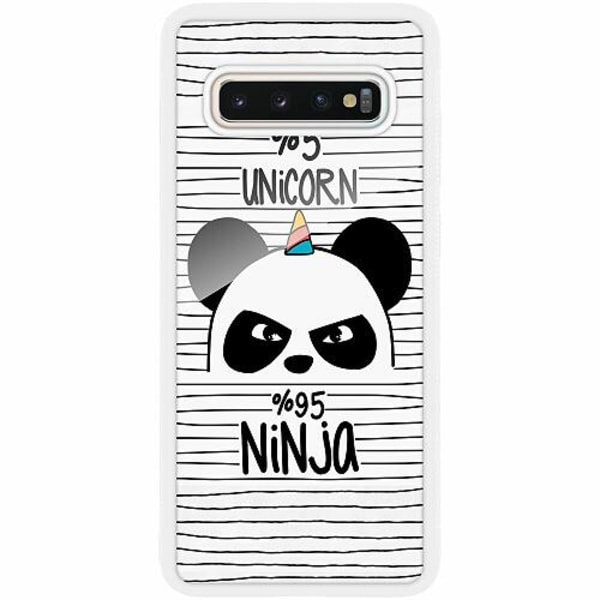 Samsung Galaxy S10 Plus Vitt Mobilskal med Glas Panda