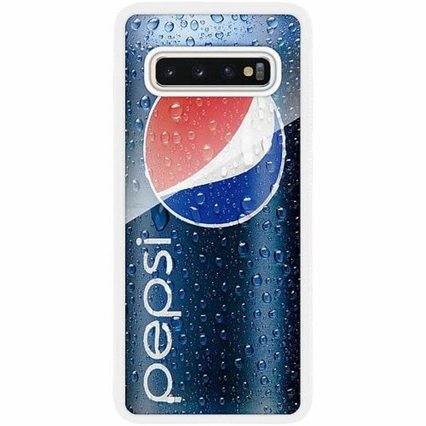 Samsung Galaxy S10 Plus Vitt Mobilskal med Glas Pepsi Can