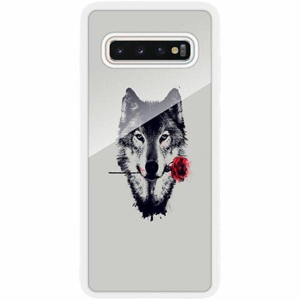 Samsung Galaxy S10 Plus Vitt Mobilskal med Glas Wolf / Varg
