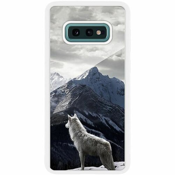 Samsung Galaxy S10e Vitt Mobilskal med Glas Wolf / Varg