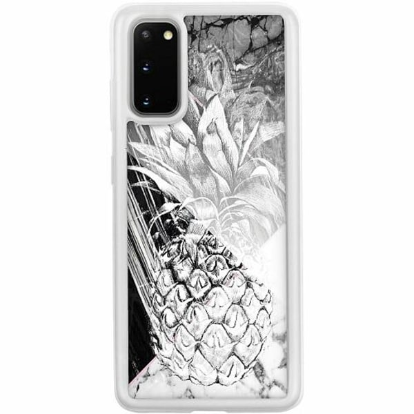 Samsung Galaxy S20 Transparent Mobilskal med Glas Ananas