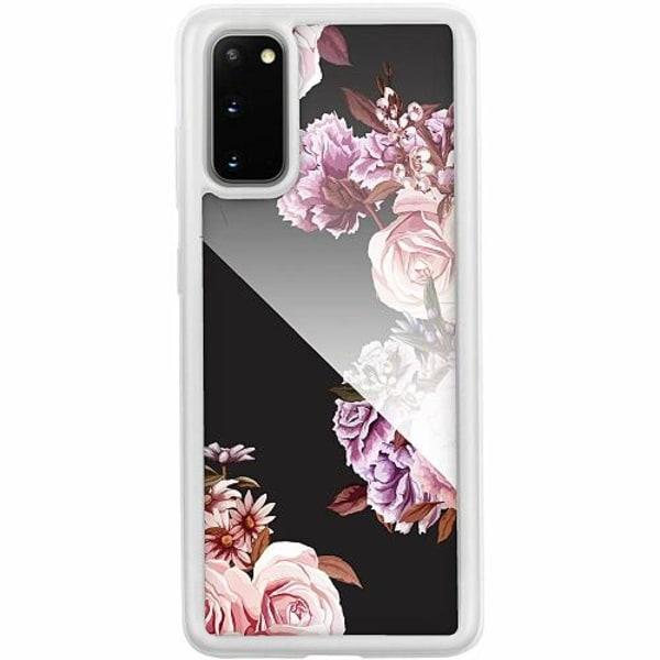 Samsung Galaxy S20 Transparent Mobilskal med Glas Blommor