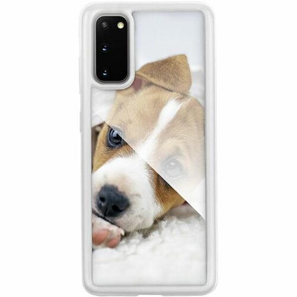 Samsung Galaxy S20 Transparent Mobilskal med Glas Cute Puppy