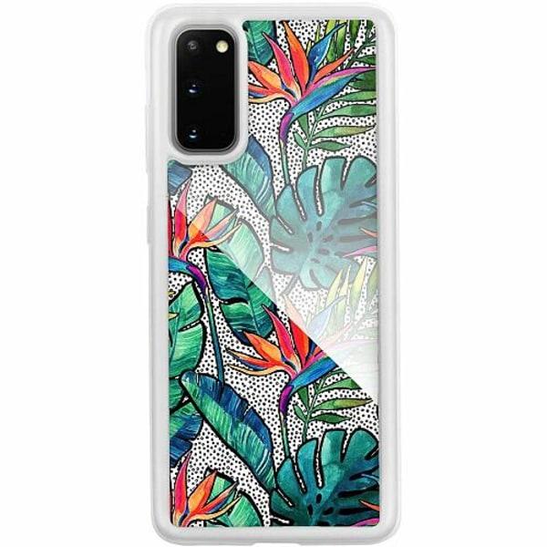 Samsung Galaxy S20 Transparent Mobilskal med Glas Löv