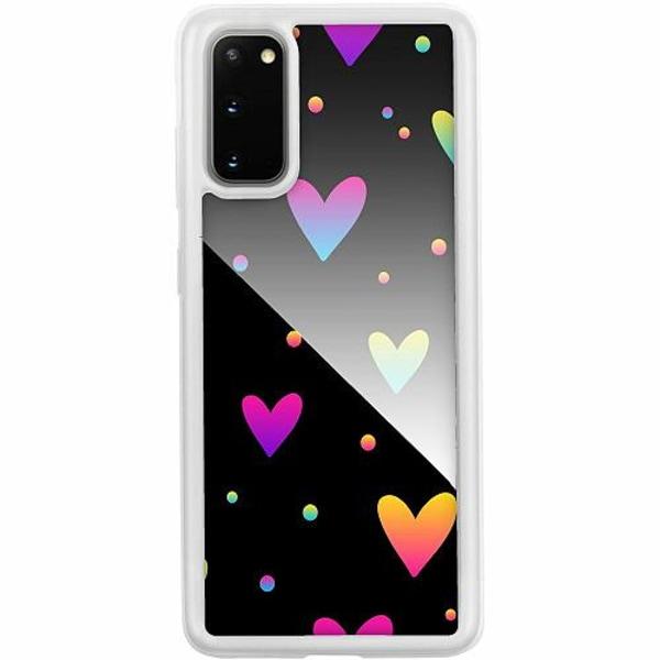 Samsung Galaxy S20 Transparent Mobilskal med Glas Neon Hearts