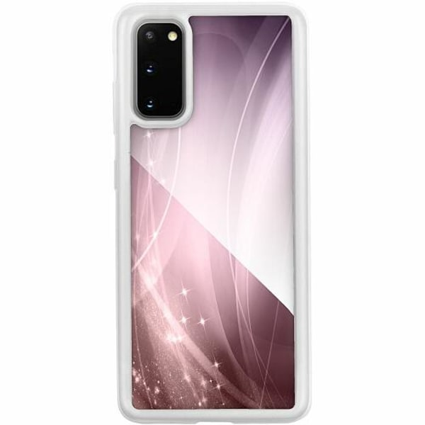 Samsung Galaxy S20 Transparent Mobilskal med Glas Rosa
