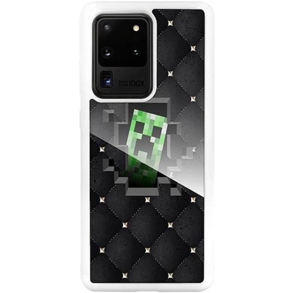 Samsung Galaxy S20 Ultra Vitt Mobilskal med Glas Minecraft