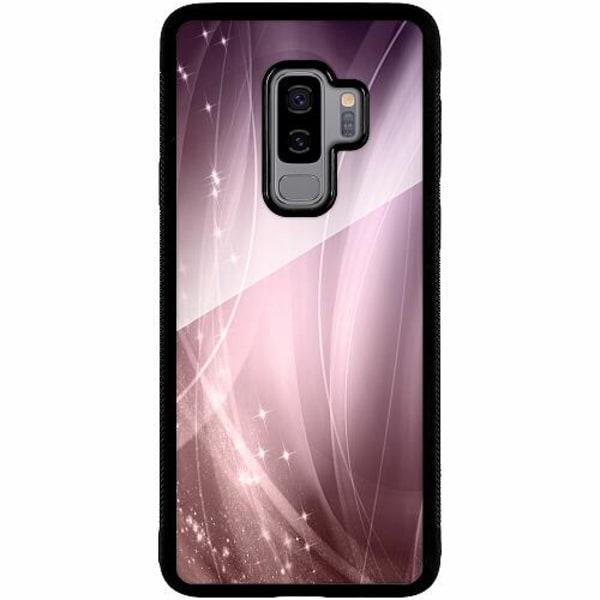 Samsung Galaxy S9+ Svart Mobilskal med Glas Lavender Dust