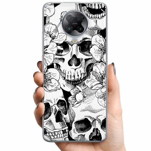 Xiaomi Poco F2 Pro TPU Mobilskal White Skulls & Flowers