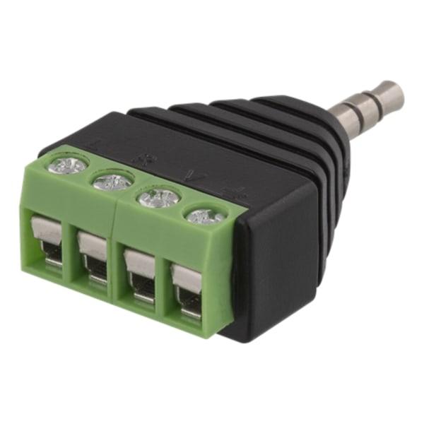 4-polig 3,5mm hane till terminalblocks adapter Grön