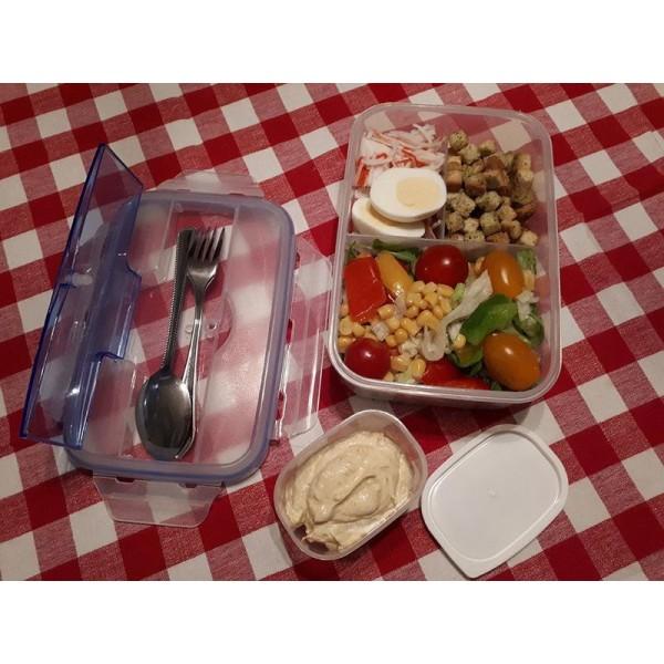No1 2- Pack Bento Box Matlåda Lunchlåda med bestick i rostfritt