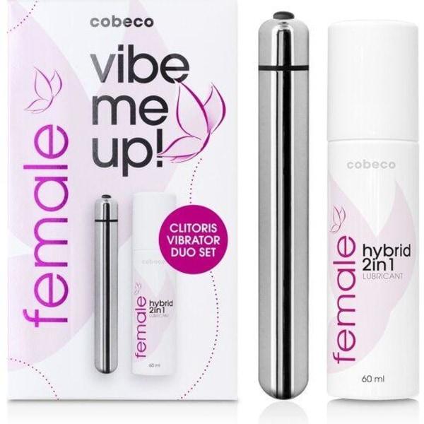 Cobeco Female Vibe Me Up! Vibrator + Glidmedel 60ml Silver
