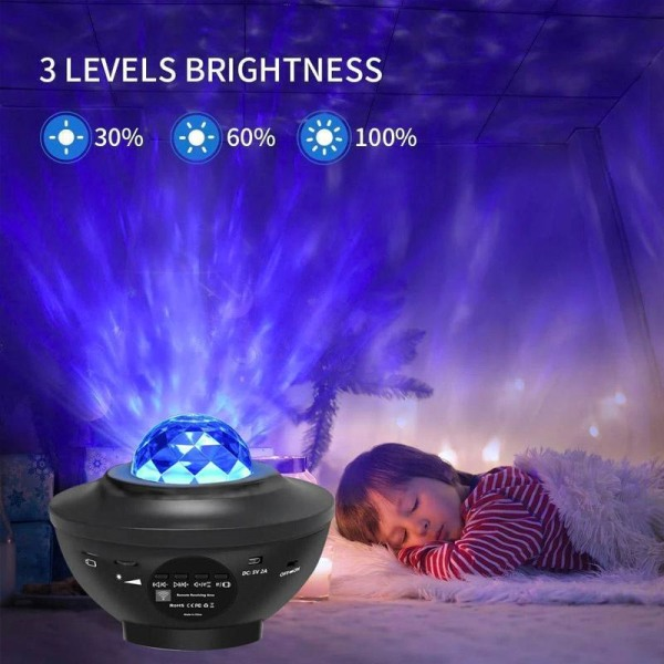 LED Galaxy Light - Stjärnlampa / Nattlampa Svart