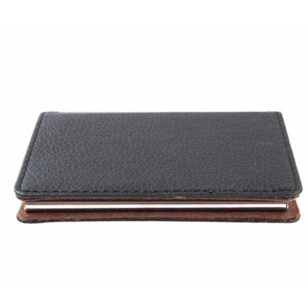 Kreditkortshållare med 6 kortfack, Svart läder