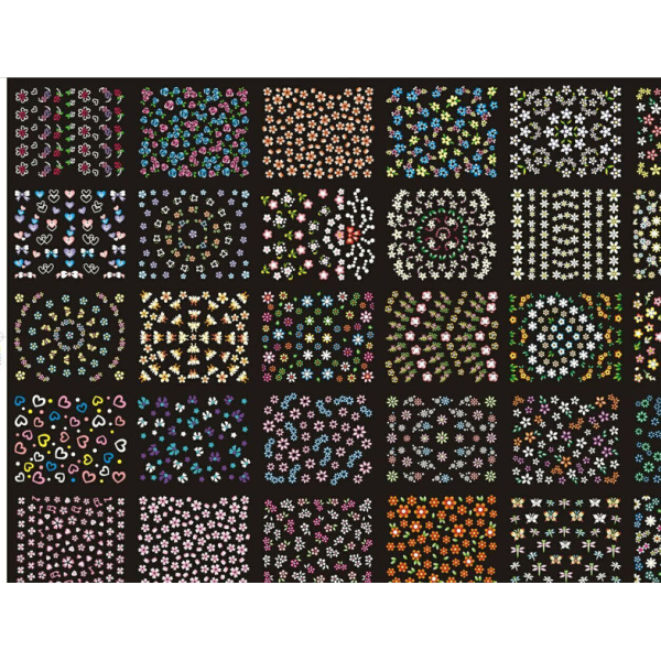10 st ark Blommor självhäftande nageldekorationer Färgglada multifärg
