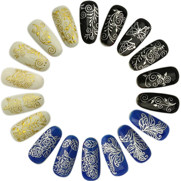 108st stickers blommor 3D nageldekorationer Guld Guld