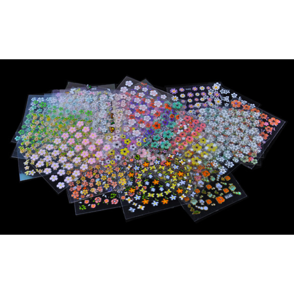 10st ark Blommor självhäftande nageldekorationer multifärg