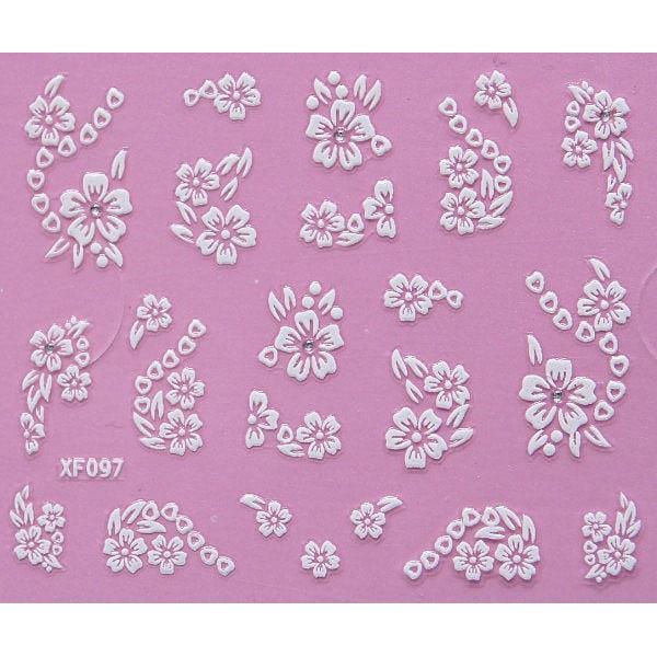 10st ark vita nageldekorationer blommor stickers Vit