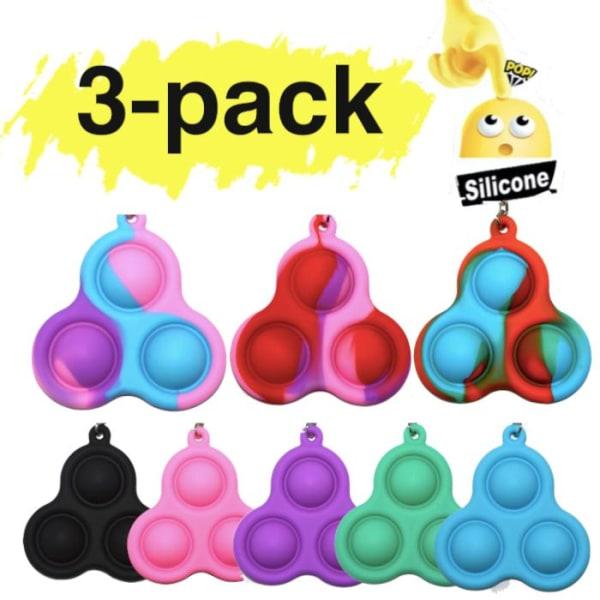 3-pack Simple dimple, MINI Pop it Fidget Finger Toy / Leksak- CE multifärg