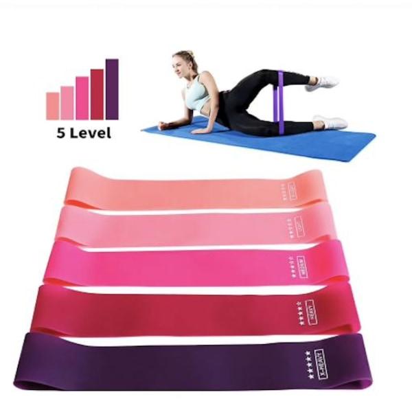 5-pack Träningsband, Motståndsband, yoga, rehab   Rosa one size