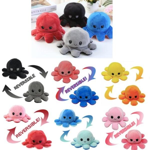 Dubbelsidig vändbar bläckfisk plyschleksaker, Reversible Octopus MultiColor Rosa/Röd