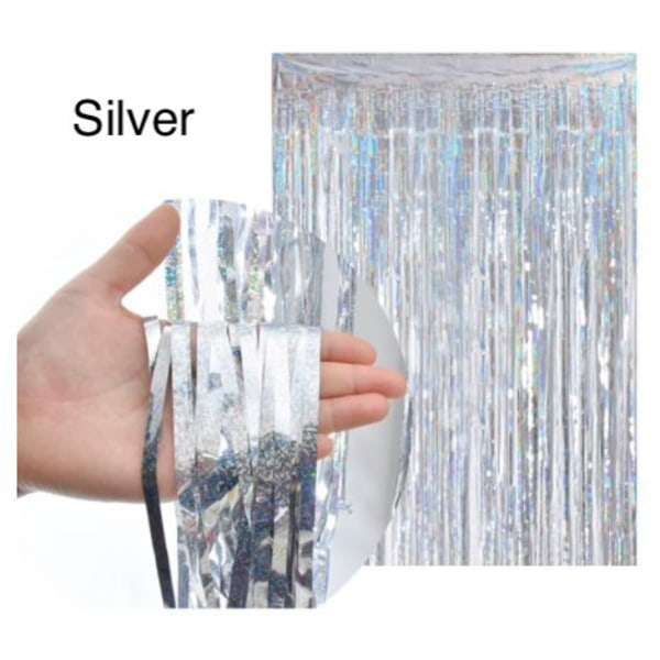 Glitterdraperi , Dörrdraperi - Silver , Guld Silver, Silver