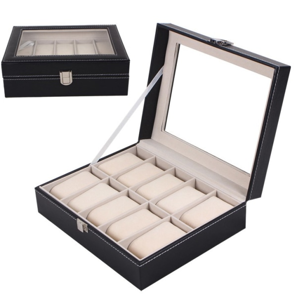 Lyxig Klockbox / Klocklåda / Urbox / Urboxs för 10 klockor Svart