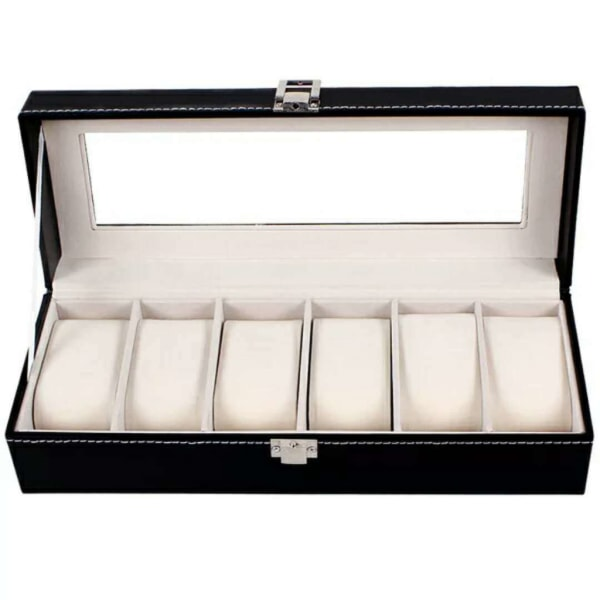Lyxig Klockbox / Klocklåda / Urbox / Urboxs för 6 klockor Svart