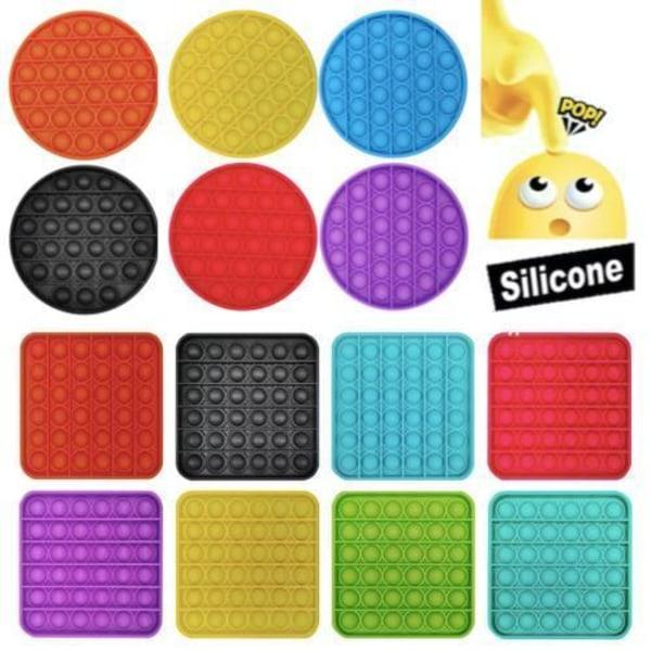 Pop it Fidget Toy Bubble Sensory Fidget Toy / Leksak- CE Black Rund - Svart