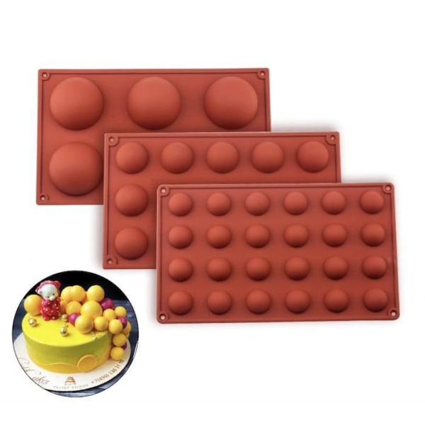 Silikonform - Kula / Halvklot 6/15/24 - Is/Choklad/Geléform Brown 6 Kulor
