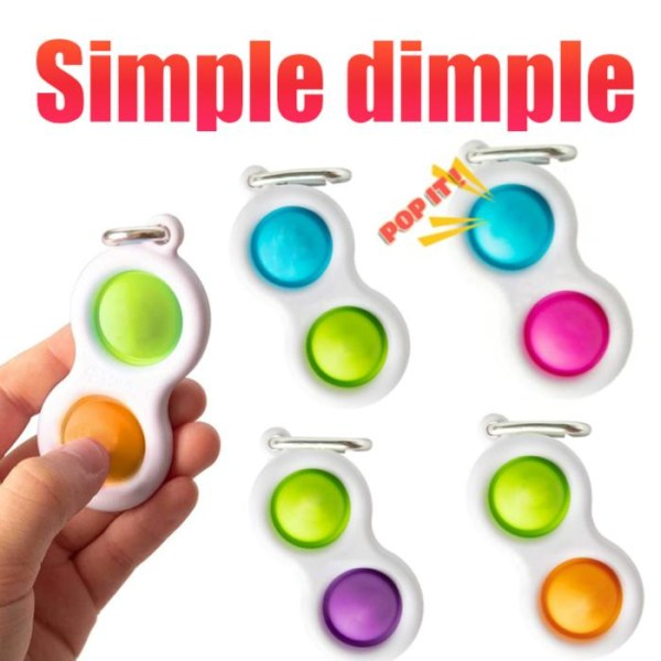 Pop it Fidget- Simple dimple - MINI Finger Toy / Leksak- CE Rosa - Blå