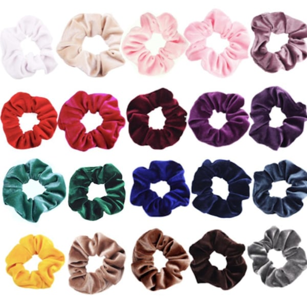 Stora Velvet hair Scrunchies, hårsnoddar , hårband , Hair bands  Gul