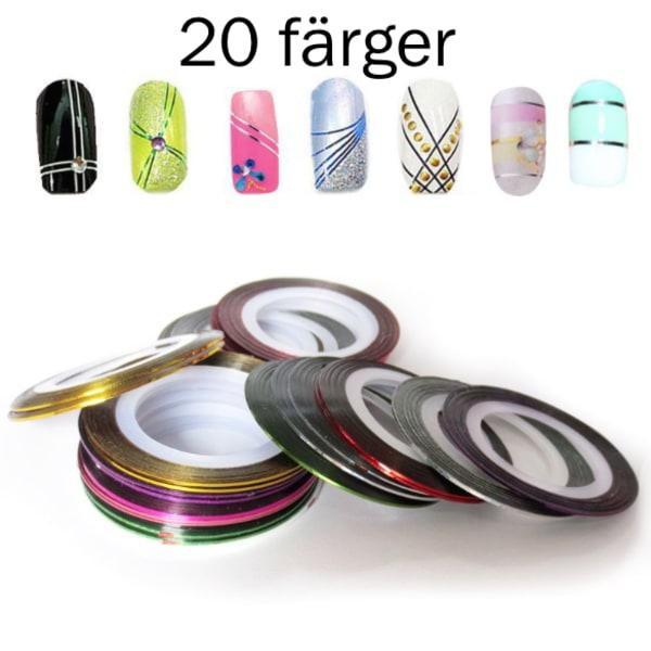 Striping tape , nageltejp , nageldekorationer 20 färger 2. Silver