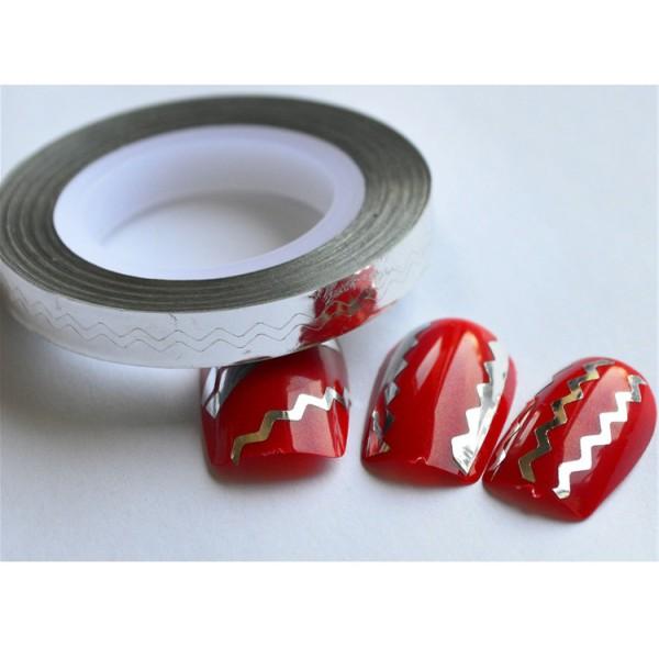 Striping tape, nageltejp, Sicksack! 12 färger 10. Vit
